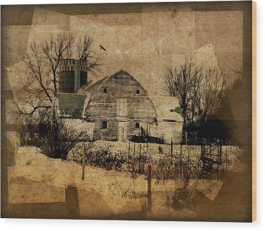 Fragmented Barn  Wood Print
