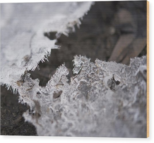 Fragmented Ice Wood Print
