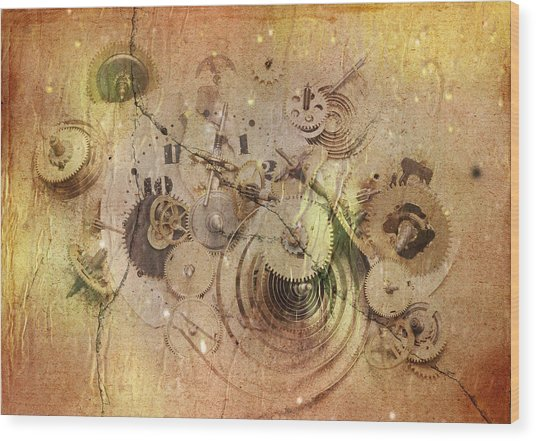 Fragmented Time Wood Print