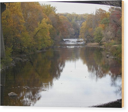 Framed Autumn River Wood Print