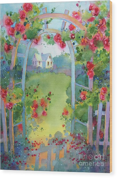 Framed By The Roses Wood Print
