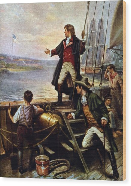 Francis Scott Key, 1779-1843 Awakes Wood Print by Everett