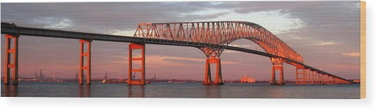 Francis Scott Key Bridge At Sunset Baltimore Maryland Wood Print by Wayne Higgs