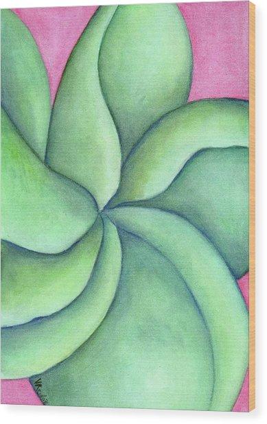 Frangipani Green Wood Print