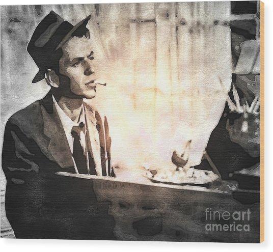 Frank Sinatra - Vintage Painting Wood Print