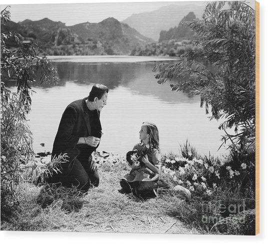 Frankenstein By The Lake With Little Girl Boris Karloff Wood Print