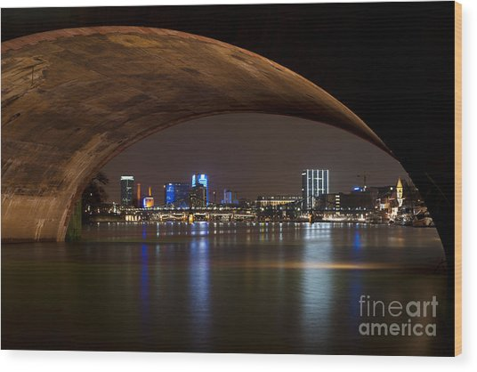 Frankfurt By Night Wood Print