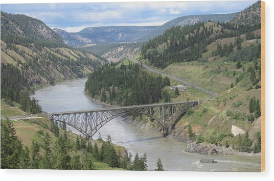 Fraser River Bridge Near Williams Lake Wood Print