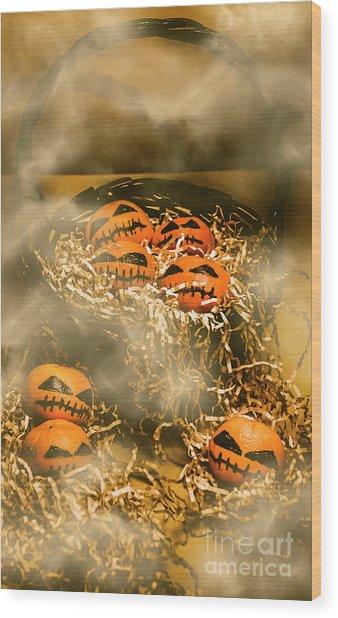 Freaky Halloween Fruits Wood Print
