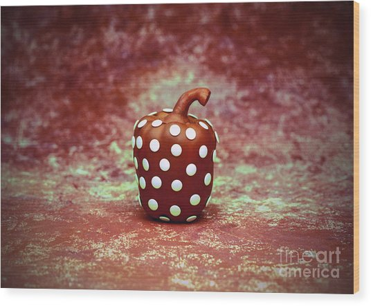 Freckled Bell Pepper Wood Print