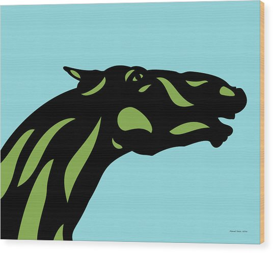 Fred - Pop Art Horse - Black, Greenery, Island Paradise Blue Wood Print