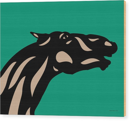 Fred - Pop Art Horse - Black, Hazelnut, Emerald Wood Print