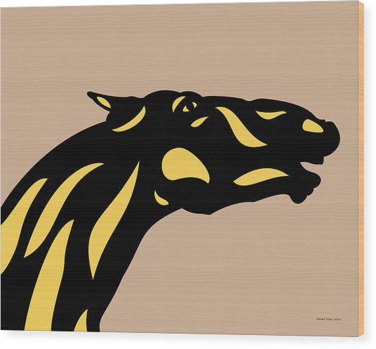 Fred - Pop Art Horse - Black, Primrose Yellow, Hazelnut Wood Print