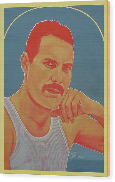 Freddie Mercury Wood Print by Jovana Kolic