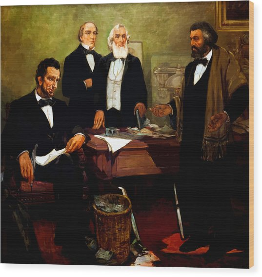 Frederick Douglass Appealing To President Lincoln Wood Print