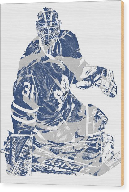 Frederik Andersen Toronto Maple Leafs Pixel Art 1 Wood Print