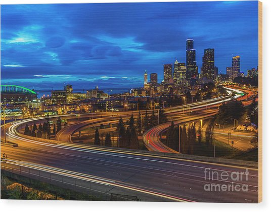 Freeway 5 North To Seattle Wood Print
