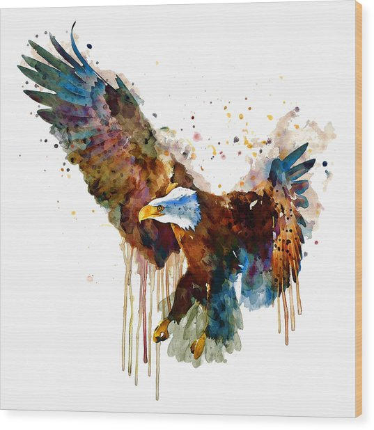 Free And Deadly Eagle Wood Print