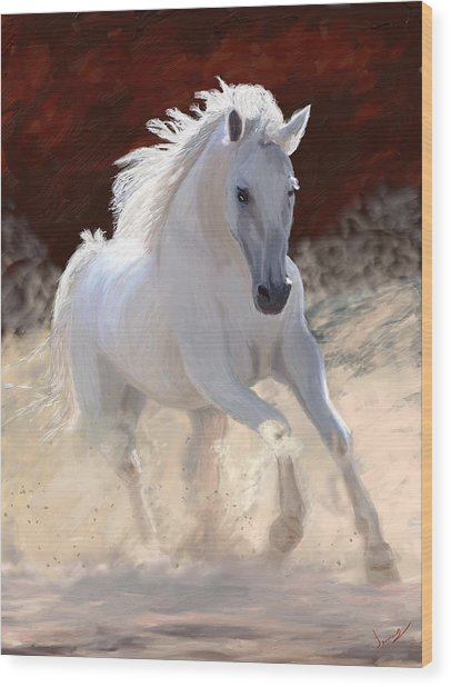White Free Spirit Horse Wood Print
