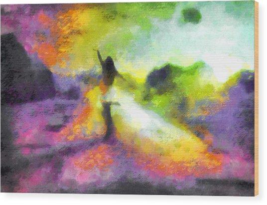 Freedom In The Rainbow Wood Print
