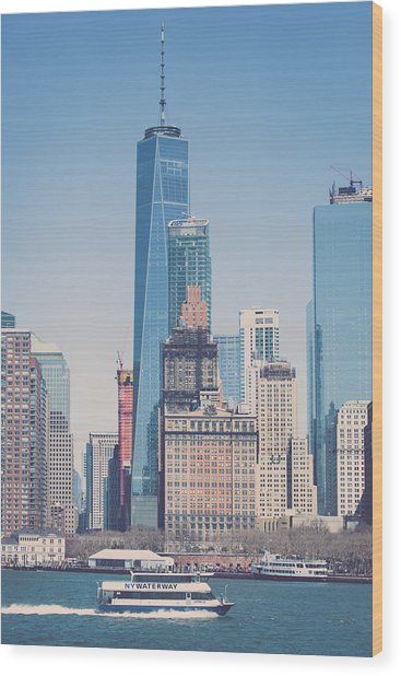 Freedom Tower From The Hudson Wood Print by Erin Cadigan