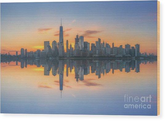 Freedom Tower Sunrise Reflections Wood Print