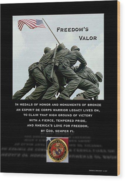 Freedom's Valor II Wood Print by Patrick J Maloney