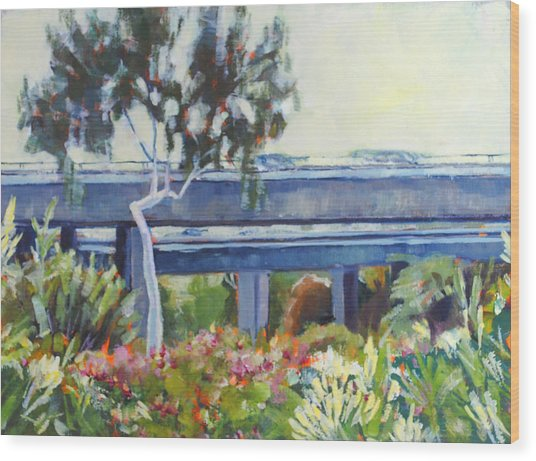 Freeway In The Garden Wood Print