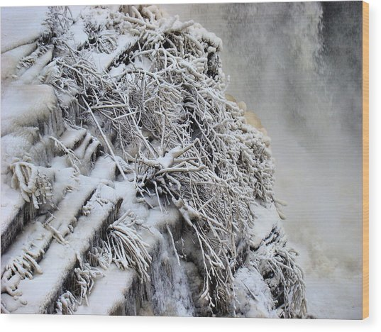 Freezing Falls Wood Print by Tingy Wende