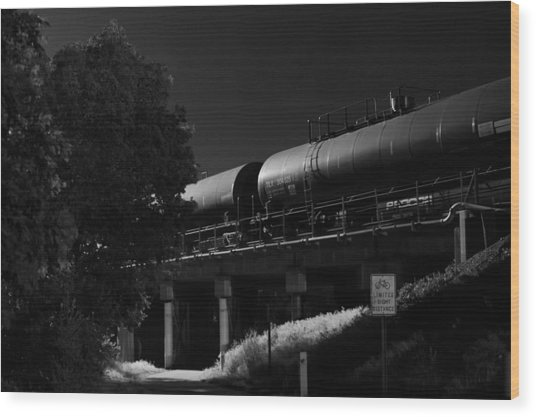Freight Over Bike Path Wood Print