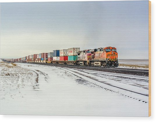 Freight Train Wood Print