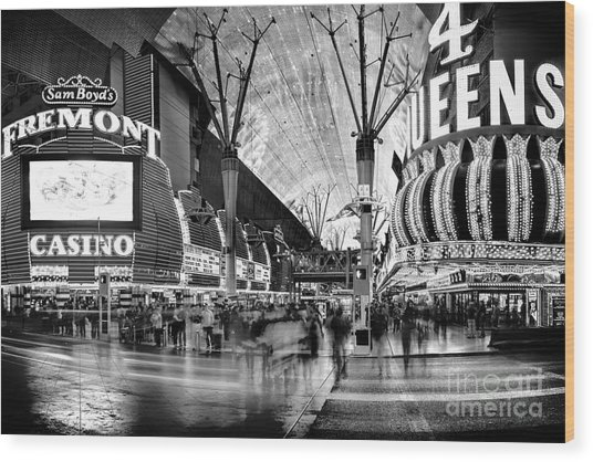 Fremont Street Casinos Bw Wood Print