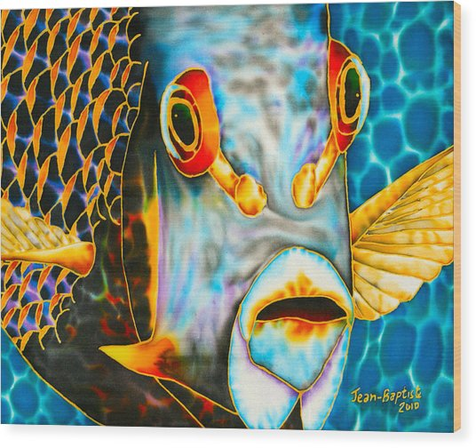 French Angelfish Face Wood Print
