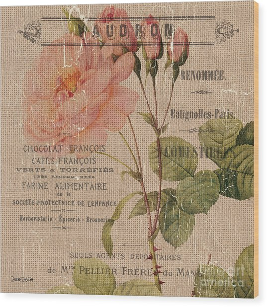 French Burlap Floral 4 Wood Print