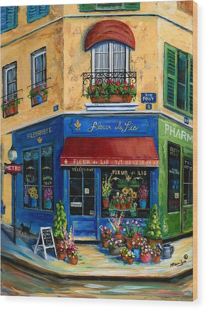 French Flower Shop Wood Print