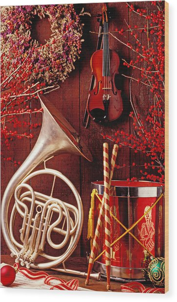 French Horn Christmas Still Life Wood Print