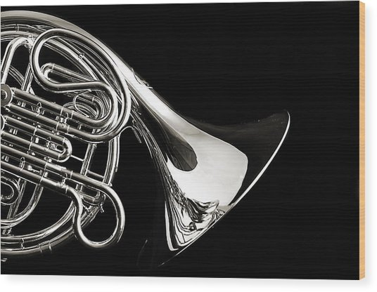 French Horn Isolated On Back Wood Print