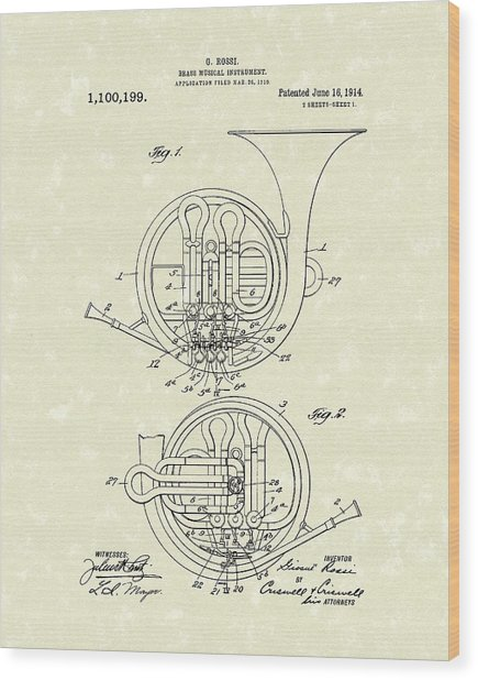 French Horn Musical Instrument 1914 Patent Wood Print