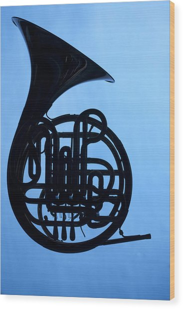 French Horn Silhouette On Blue Wood Print