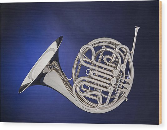 French Horn Silver Isolated On Blue Wood Print