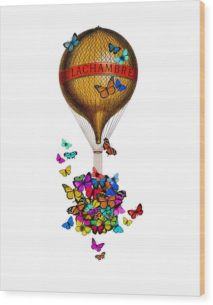 French Hot Air Balloon With Rainbow Butterflies Basket Wood Print