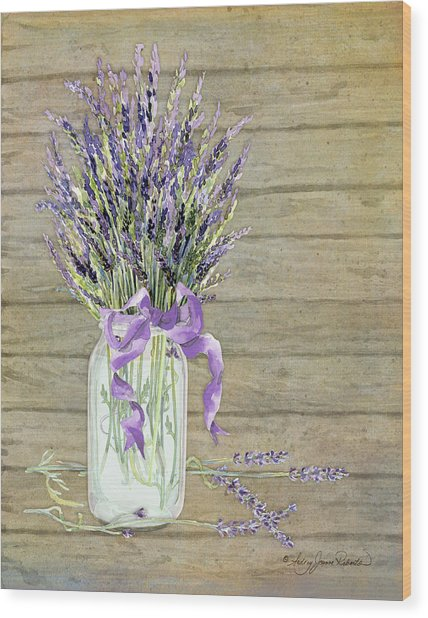 French Lavender Rustic Country Mason Jar Bouquet On Wooden Fence Wood Print