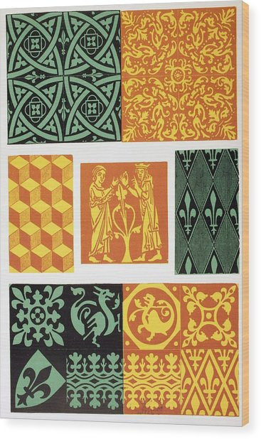French Medieval Floor Tiles From Les Drawing by Vintage Design Pics