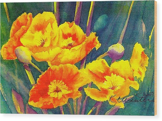 French Poppies Wood Print by KC Winters
