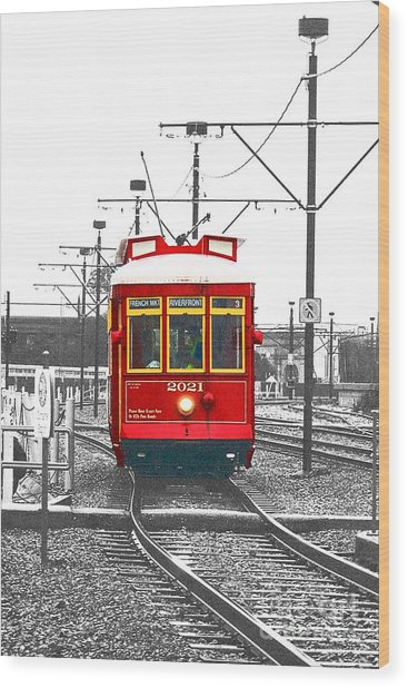 French Quarter French Market Cable Car New Orleans Color Splash Black And White With Film Grain Wood Print