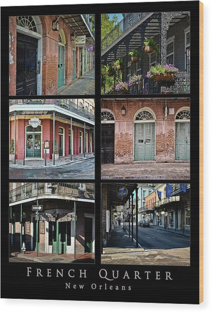 French Quarter - New Orleans - Collage Wood Print