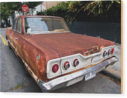 French Quarter Rusty Chevy Wood Print