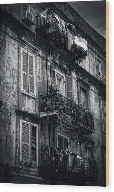 French Quarter Shutters And Balconies In Black And White Wood Print