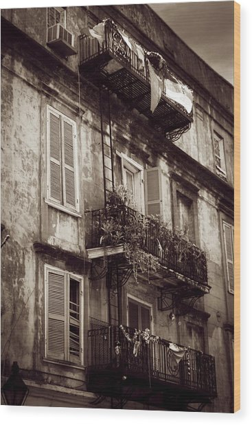 French Quarter Shutters And Balconies In Sepia Wood Print
