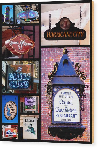 French Quarter Sign Collage Wood Print
